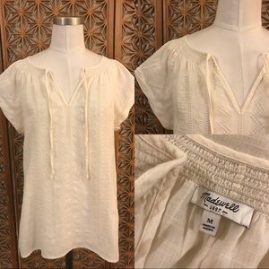 Madewell Embroidered ivory bohemian blouse M